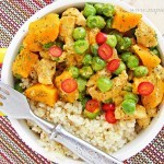 Kurczak curry z dynią i groszkiem